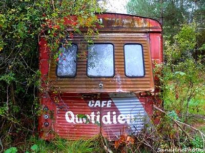 Camionnette de marchand de café abandonnée en forêt, Café quotidien, frais, fort, fin, Abandoned van of a coffee seller, lost in the forest, Bouresse, Poitou-Charentes-octobre 2012 (19)