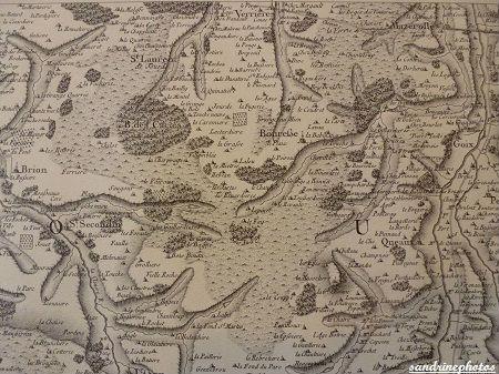 extrait de la carte de Cassini 1750 Bouresse et ses environs