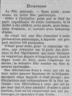 Fête nationale à Bouresse, juillet 1887 -La Semaine-L`avenir de la Vienne, article écrit dans la presses locale du Poitou - Archives Départementales 86 (1)