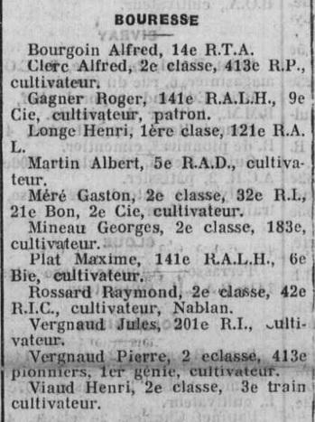 Liste des prisonniers de guerre de Bouresse - Centre National d`information sur les prisonniers de guerre, 22 décembre 1940 - La Semaine AD86 p.81