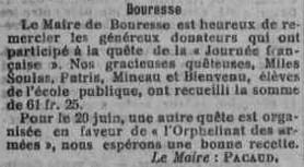 Mots du Maire de Bouresse Dons de la population pour les soldats et orphelins de guerre 1915