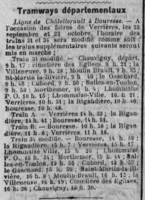 Trains départementaux, Ligne Châtellerault-Bouresse dans la Vienne, Première Guerre Mondiale, 22 juillet 1922 (2)